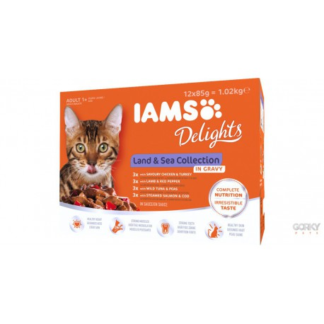 IAMS Cat Delights Gravy - Saquetas Land & Sea