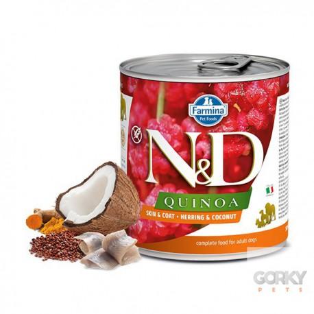 N&D Dog (GF Quinoa) - Latas Skin Coat Arenque