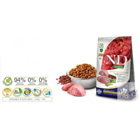 N&D Dog (GF Quinoa) Gestão de Peso - Borrego